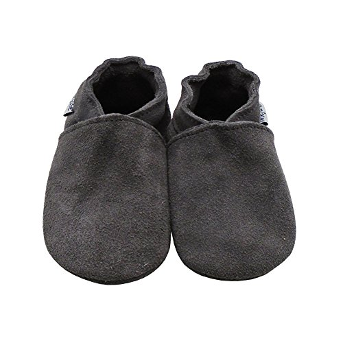 Grey Soft Leather (Mejale Baby Infant Toddler Shoes Anti-Slip Soft soled Suede Leather Moccasins Pre-Walker(0-6 Months,Grey))
