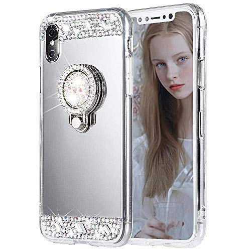 DECVO Case Compatible with iPhone X Luxury Cute Shiny Bling Crystal Mirror Makeup Case for Girls with Ring Kickstand Holder and Diamond Protective TPU, Soft Rubber Bumper Case (Sliver)
