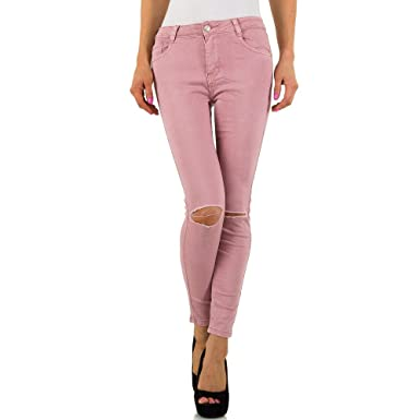 77d468b1e0c5 Schuhcity24 Damen Jeans Hose Jeanshose Damenjeans Destroyed Low Skinny  Röhre Röhrenjeans Bluejeans Rosa M 38