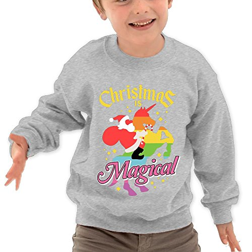 Price comparison product image Puppylol Christmas Is Magical Santa Riding Unicorn Kids Classic Crew-neck Pullover Hoodie Ash 5-6 Toddler