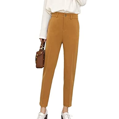 Pantalons Femme Printemps Automne Pantalon De Loisirs Élégant Mode Slim Fit  Pantalon Sarouel Uni Manche Casual 0238b2d10ad