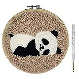 Wool Queen Punch Needle Starter Kit | Animal Rug Hooking Beginner Kit, with an Adjustable Embroidery Pen and 8.0'' Hoop-Panda (Color: Panda)