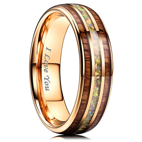 NaNa Chic Jewelry 6mm Rose Gold Tungsten Carbide Wedding Ring Inlaid with Real Wood & Multicolor Opal Engagement Band 8 ()
