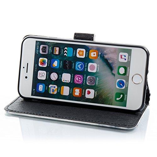 iPhone 7 Coque Marbre noir Portefeuille Fermoir Magnétique Supporter Flip Téléphone Protection Housse Case Étui Pour Apple iPhone 7 + Deux cadeau