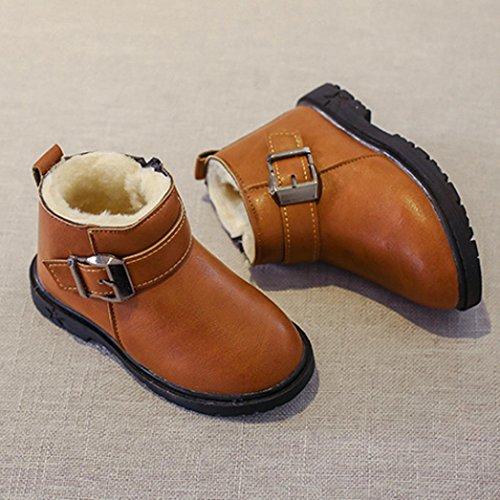 IGEMY Kleinkind Jungen Mädchen Martin Sneaker, warme Kinder Baby Stiefel Braun