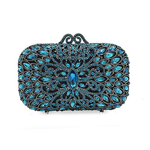 Peacock Sac Spalla En Femmes Sposa Sera Donna Strass Da Pour Color De Soirée Blue Borsa Mariage Hq6RFAH