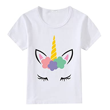 791b493c Amazon.com: Girls Unicorn Print Birthday T-Shirt Short Sleeve Cotton Tops  Summer White Tee for Baby Kids 2-9 Years: Clothing