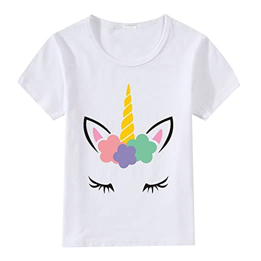 Unisex Unicorn Birthday T Shirt Kids Girls Boys White Cotton Tee Top Blouse Pullover Matching