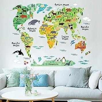 Nattel Sticker Decal - 1pc Animal Educational World Map Wall Sticker