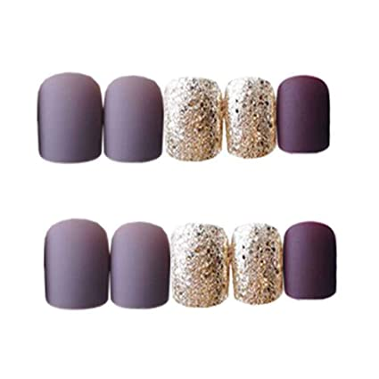 Púrpura gris/oro falsas uñas cubierta completa uñas artificiales consejos falsas uñas