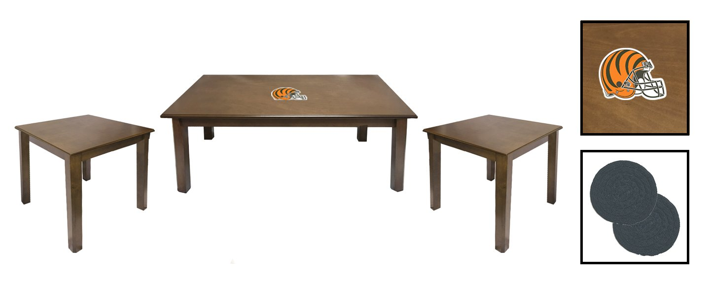 3 Piece Walnut Finish Coffee and End Tables Set Featuring the Choice of Your Favorite Football Team Logo - FREE Coasters Included! (Bengals Helmet)