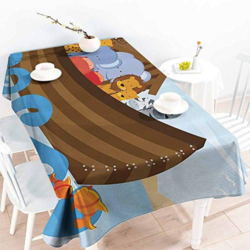 Homrkey Easy Care Tablecloth Noahs Ark Decor Collection Different Wild Animals on Noahs Ark Boat Cheerful Story Characters Fun Picture Blue Brown Soft and Smooth Surface W40 xL60