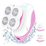 Hair Removal for Women, 3-in-1 Painless Electric Shaver With Facial Massager & Cleansing Brush, Body Epilator, Waterproof & Rechargeable Lady Razor, for Legs, Arms, Underarms & Bikini Line
