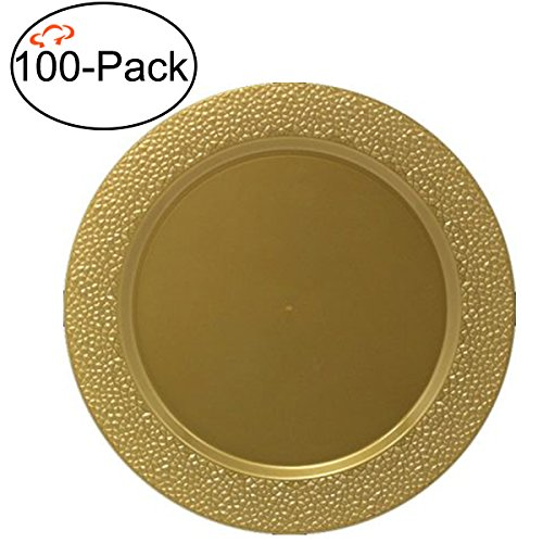 Tiger Chef 100-Pack 13 inch Round Gold Hammered Plastic Charger Plates Disposable Set of 2, 4, 6, 12 or 24 for Parties, Wedding, and Special Events (100 Gold Charger Plates)
