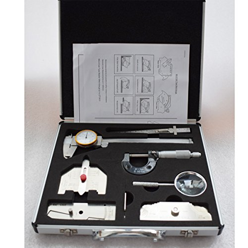 Warrior 7Pcs Welding Gauges Kit In Inch With Briefcase Pack MG-11 V-WAC Sliding Clip Depth Automatic Weld Magnifier