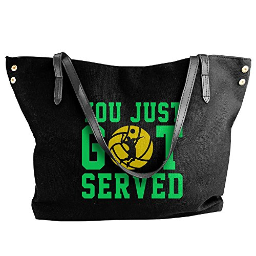 Bag Tote Volleyball Got Women's Served Just Canvas You Shoulder Hand Handbag Large Black ZnfP46