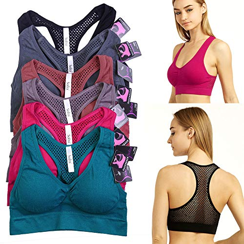 6 Pack Women Sports Bra Yoga Fitness Stretch Workout Tank Top Seamless Padded
