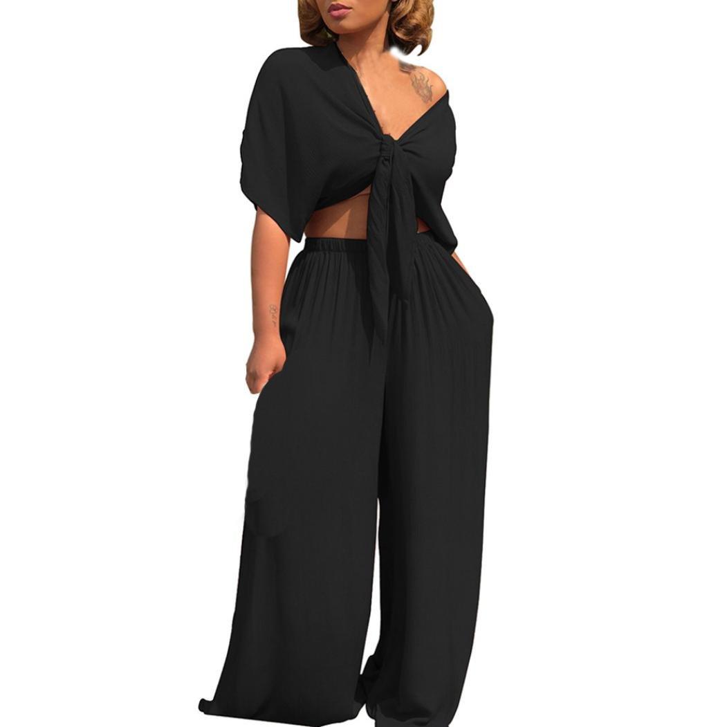 YANG-YI Hot, Women Bandage Deep V-Neck Short Sleeve Tops Broad Leg Pants 7PC Set