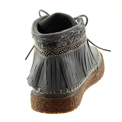 Angkorly Chaussure Mode Bottine Femme Frange Fantaisie brodé Talon Plat 2.5 CM Gris f3WypyYj1