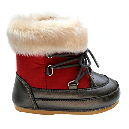 Kuner Baby Boys and Girls Plush Robber Sole Warm Snow Boots First Walkers (13cm(12-18months Red)