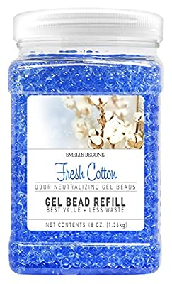SMELLS BEGONE Odor Eliminator Gel Bead Refill - Eliminates Odors from Bathrooms, Cars, Boats, RVs and Pet Areas - Air Freshener Made with Natural Essential Oils (48 OZ)