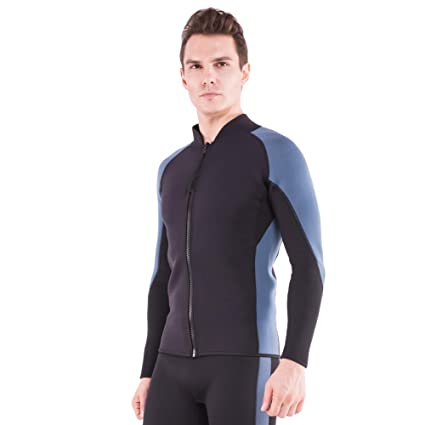 12e93ec208 AQUAFANS Wetsuit Jacket 2MM Neoprene Men s Wetsuit Tops Long Sleeves Front  Zip Diving Shirt Warmth for
