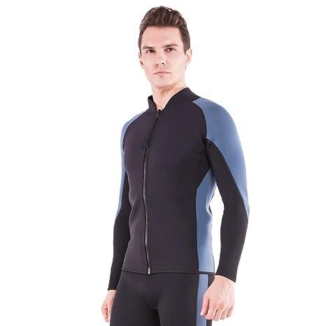 312de06da AQUAFANS Wetsuit Jacket 2MM Neoprene Men's Wetsuit Tops Long Sleeves Front  Zip Diving Shirt Warmth for