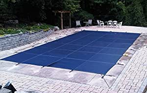 PoolTux Rectangular Safety Pool Cover for In Ground Pool (20' x 40', Royal Mesh Blue)