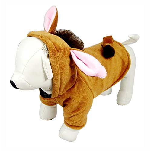Halloween Dog Horse Costume Clothes Cat Outfits Winter Warm Fleece Dog Pet Cat Jacket Coat Dog Hoodie (XL, Brown)