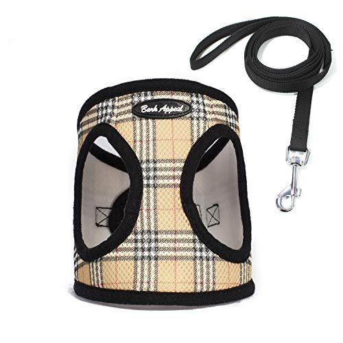 - Bark Appeal No Pull Harness Pet Vest - Soft Step-in Mesh Puppy Comfort Adjustable Padded Vest EZ Wrap No Choke Design Harness with Leash (Medium, Tan Plaid)