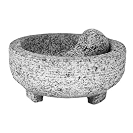 Vasconia 4-Cup Granite Molcajete Mortar and Pestle 1 AUTHETNIC TOOL FOR GRINDING: Enjoy an authentic, hands-on tool for grinding grains, spices, and herbs, as well as making salsas, guacamole, and pico de gallo. LARGE CAPACITY FOR GRINDING: The beautiful granite Molcajete has a 4-cup capacity, this mortar and pestle looks great on the counter and also looks beautiful on the table serving a hand-prepared salsa. THE IDEAL GRINDING TOOL: The smooth interior is an ideal grinding surface and overall it bears a classic, traditional design.