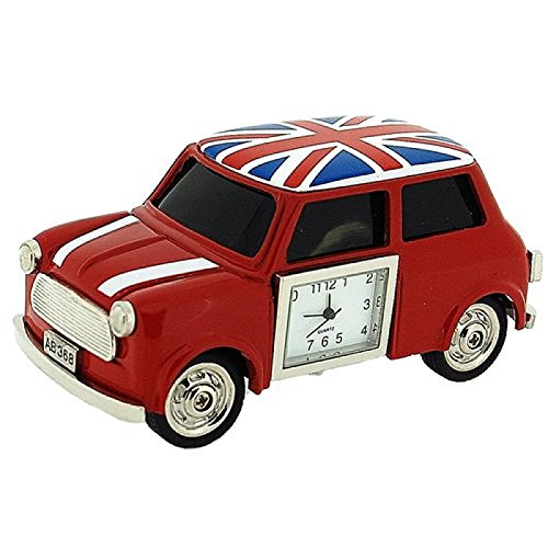 British Clock (Miniature Union Jack British Red Mini Cooper Novelty Collectors Clock 0445)