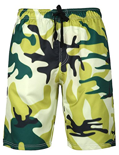 Mens Camo Leaves Printed Swim Trunks Boardshorts Beach Shorts(L,Camo) (Tormentor Board Shorts)