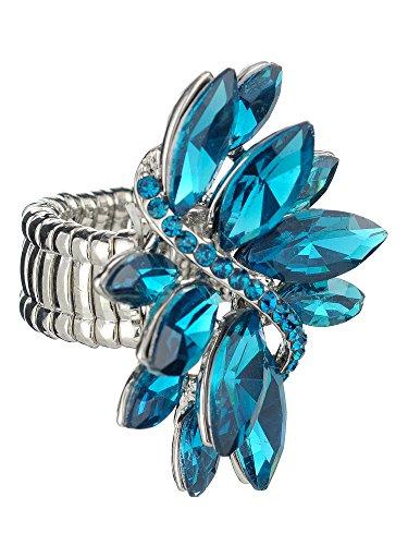 NYFASHION101 Women's Vine Marquis Stone Stud Fashion Stretch Ring, Blue/Silver-Tone