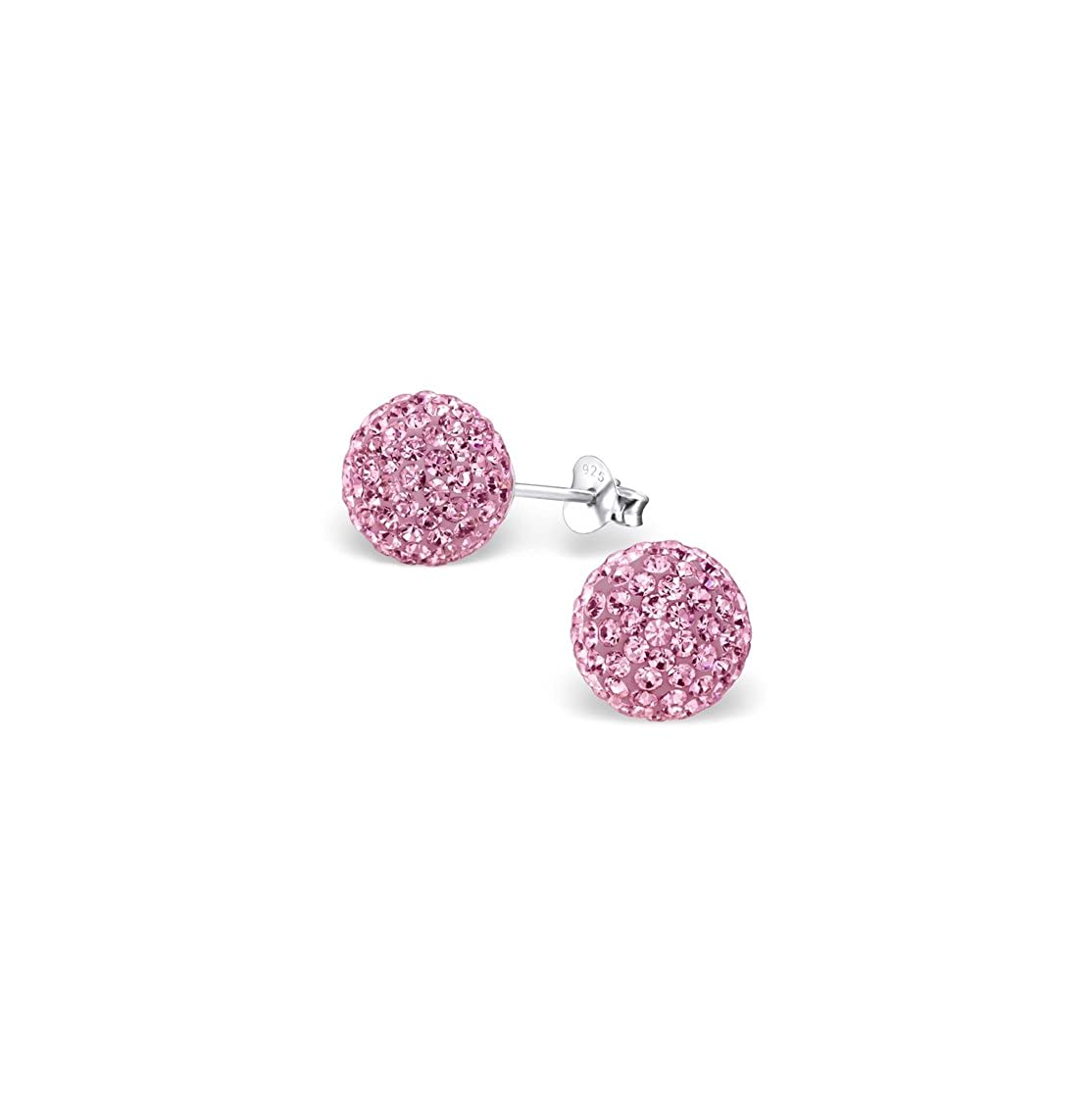 Ball Ear Studs With Crystal And Description Sterling Silver 925 Liara Polished And Nickel Free