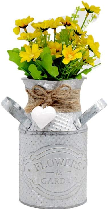 Bowanadacles Metal Flower Vase High French Country Vintage Rustic Container with Handle Wedding House Garden Kitchen Decor (White, one Size)