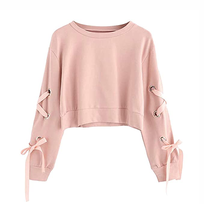 vasta selezione di 57110 43a08 Yusealia Felpe Corte Tumblr Ragazza Pullover Donna Magliette Donna Papillon  Tinta Unita Top Camicetta Donna Camicia Crop Top Manica Lunga T-Shirt ...