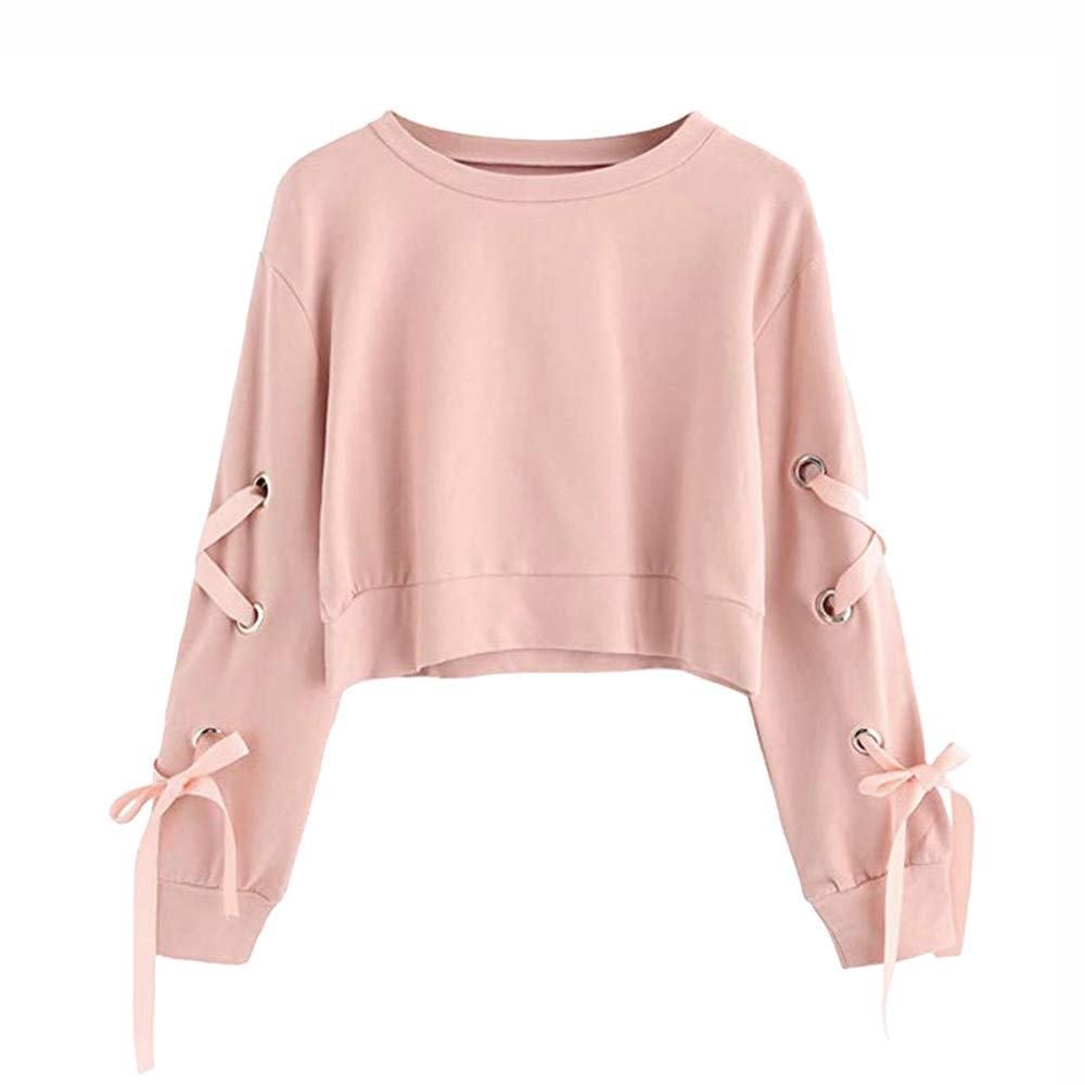 Ulanda Autumn Women's Casual Lace Up Long Sleeve Pullover Crop Top Solid Fashion Sweatshirt