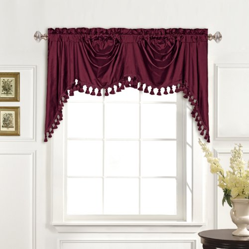 (United Curtain 100-Percent Dupioni Silk Austrian Valance, 108 by 30-Inch, Burgundy)