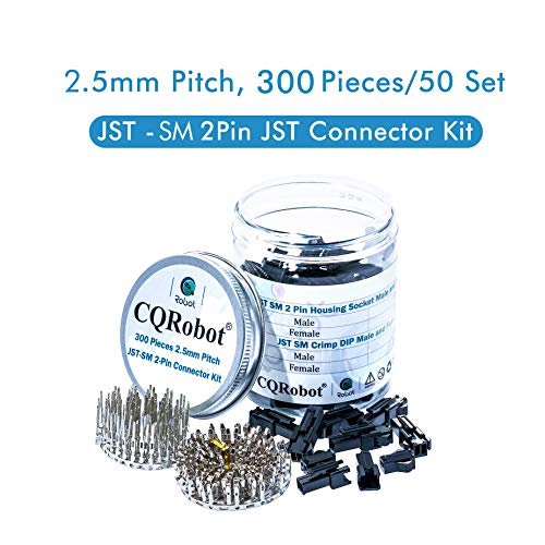 300 Pieces 2.5mm Pitch JST - SM JST Connector Kit. 2.5mm Pitch Male and Female Pin Header, JST SM - 2 Pin Housing JST Adapter Cable Connector Socket Male and Female, Crimp DIP Kit. ()