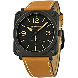 Bell and Ross Black Dial Beige Calfskin Leather Mens Watch BLRBRS-HERI-CEM