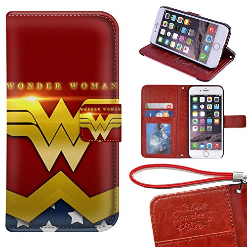 "Price comparison product image iPhone 6S Plus Wallet Case - Onelee DC comics Wonder Women Premium PU Leather Case Wallet Flip Stand 5.5"" Case Cover for iPhone 6S Plus with Card Slots"
