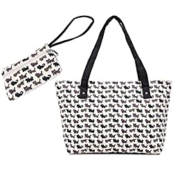 WongSinTong Women Large Canvas Handbag Tote Cat Printed Cute Shoulder Bag and Wallet 2 Piece Sets