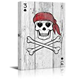 Arts Language Canvas Prints Wall Art - Poker Cards Canvas Wall Art - Spades 3 - Pirate Skeleton with Spades Eyes and Nose - Gallery Wrap Modern Home Decor   Ready to Hang - 16'' x 24'' inches