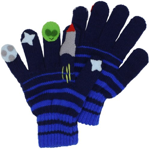 Kidorable Blue Space Hero Soft Acrylic Gloves for Boys With Fun Aliens and Rockets,Blue,Small (ages 3-5 years)
