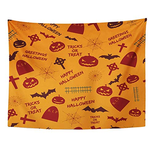 Remain Unique Tapestry Greetings Halloween Abstract Holiday Symbols and Text Tricks Treat on Orange Wall Hang Decor Indoor House Made in Soft ()