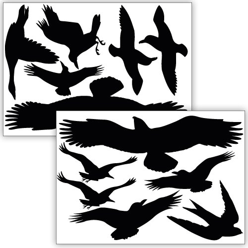 - Wandkings bird and window protection, 12 stickers, protection against bird collisions, black
