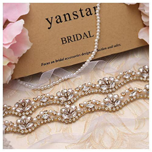 (Yanstar Hand Gold Rhinestone Crystal Pearls Wedding Bridal Belts With White Organza For Bridal Bridesmaid Gowns)