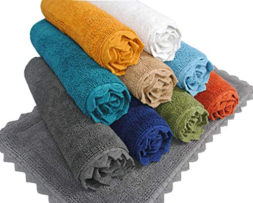 - Urban Style Decor Bath Rugs Set of 2 100% Soft Reversible Crochet Border Cotton Bathmat Hand Tufted Non Slip 2200 GSM Quality (Rectangle 17 x 24/17 x 24 Set, Turquoise)