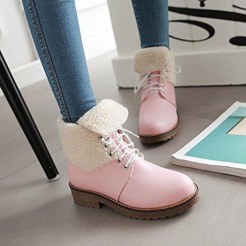Pink Stiefel heels Mee Damen kurzschaft gefüttert Shoes chunky warm wvqzw6
